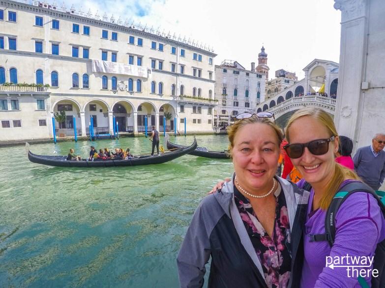 Amanda Plewes and Donna Plewes in front of Rialto Bridge in Venice