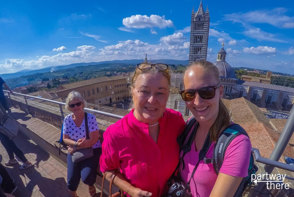 Amanda Plewes and Donna Plewes on top of Siena Cathedral in Siena, Italy