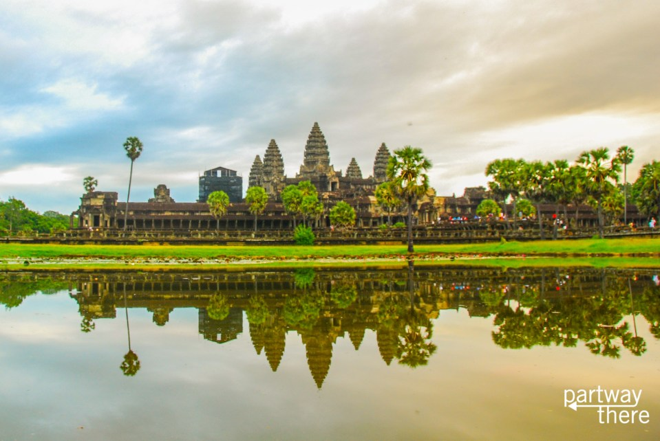 Angkor Wat at sunrise on a cloudy morning with no real sunrise