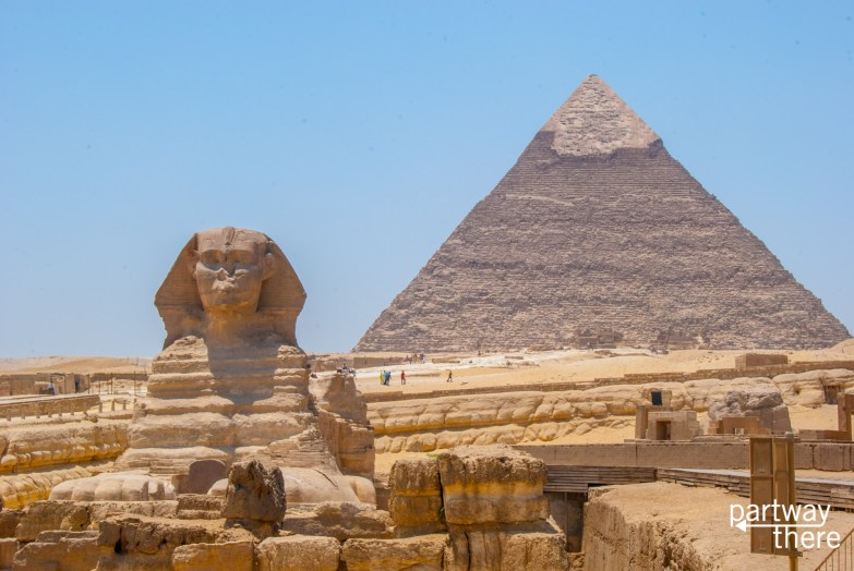 The Sphinx and pyramids in Cairo, Egypt.