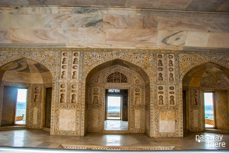 The inside of Agra fort