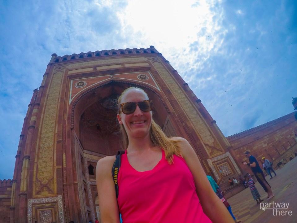 Amanda Plewes in front of the Buland Darwaza