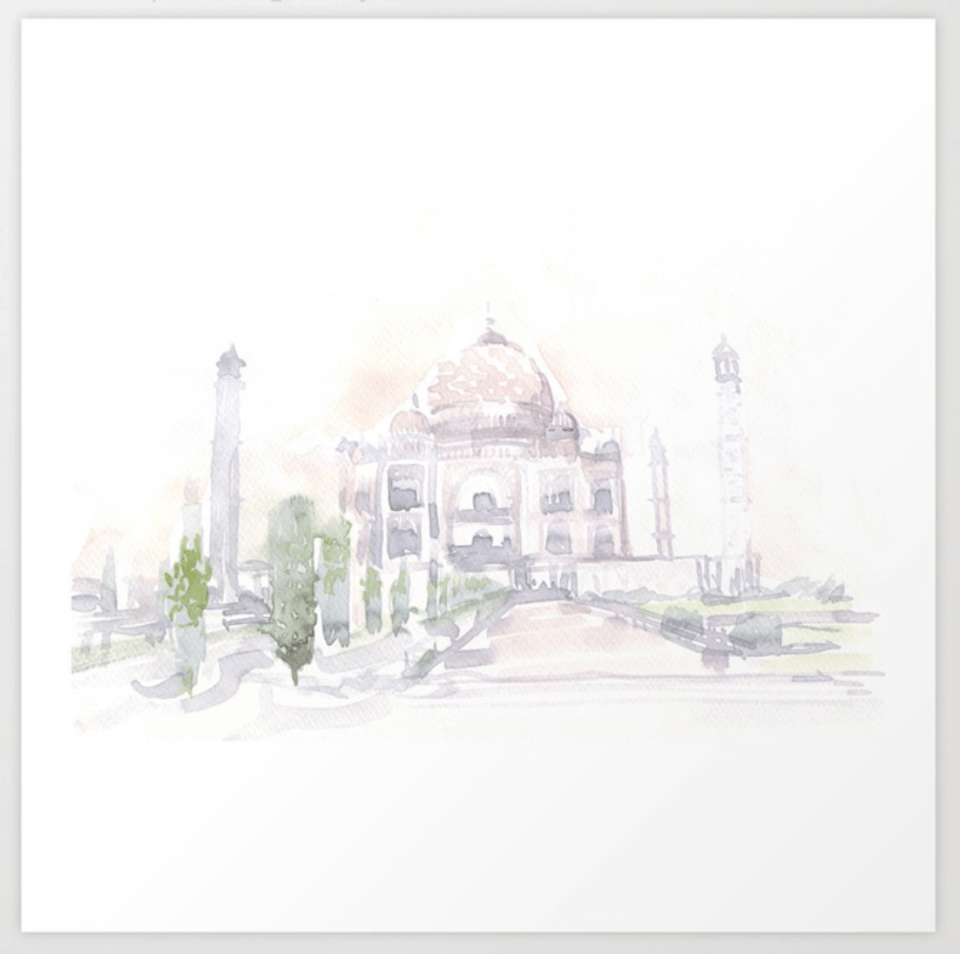 Watercolor print of painting of Taj Mahal