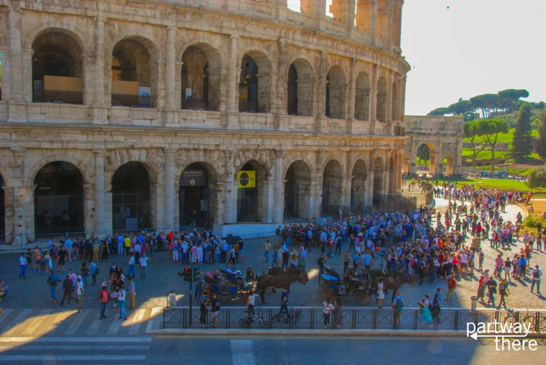 Crowds at the Colosseum in Rome, Italy