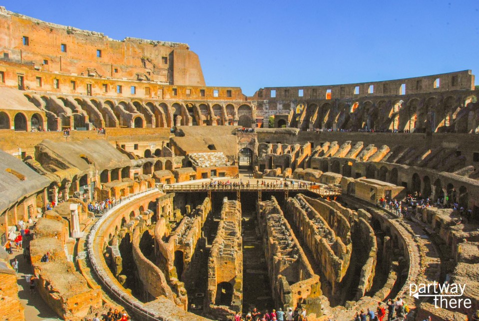 The inside of the Colosseum in Rome, Italy