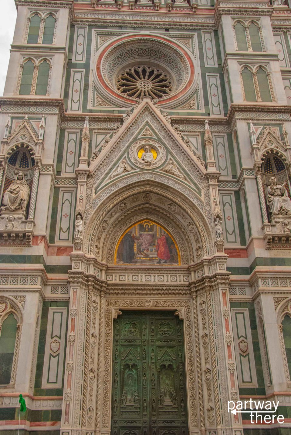 The intricate carvings on the front doors of the Duomo in Florence, Italy