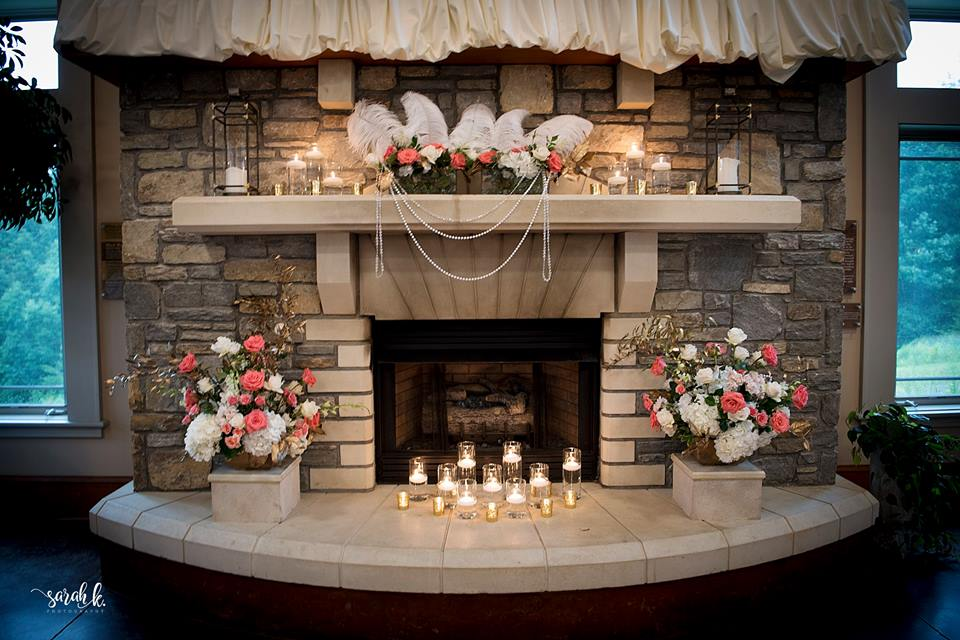 fireplace with flowers