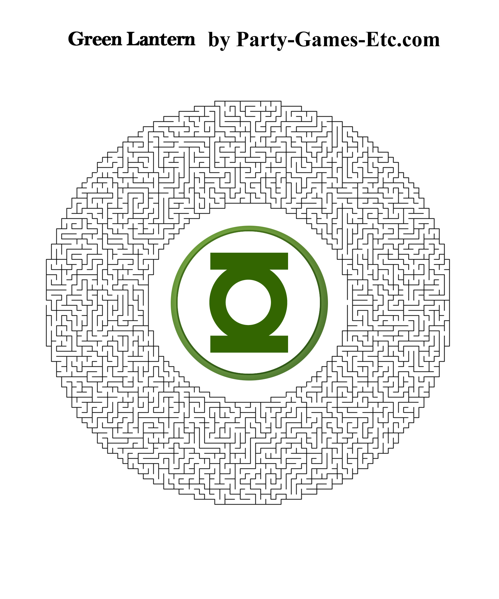Green Lantern Party Games, Free Printable Games and