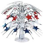 Blue red and white stars cascading centrepiece. For July 4th Celebrations