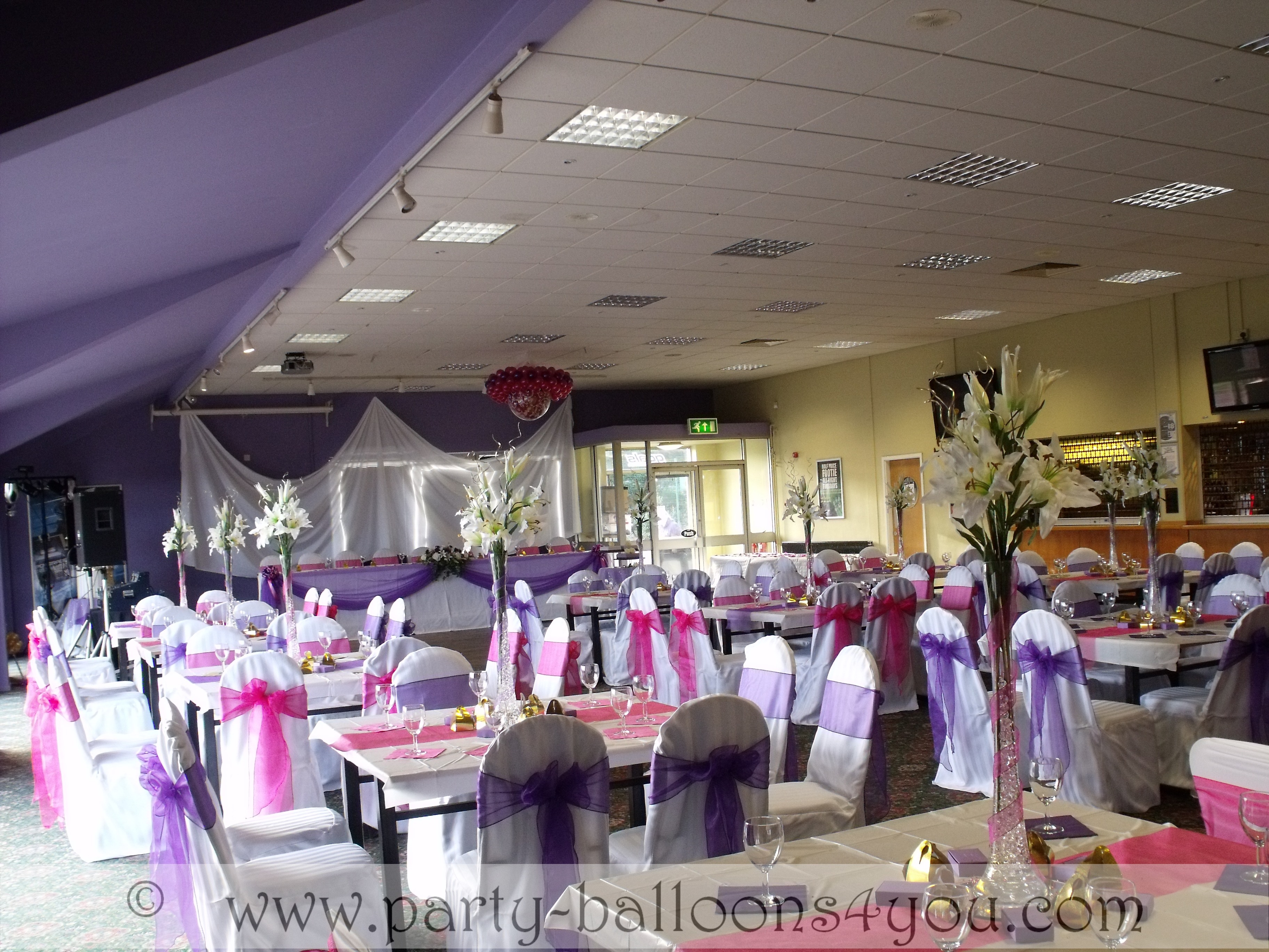 white wedding chair covers hire for desk party balloons 4 you venue decorations done at