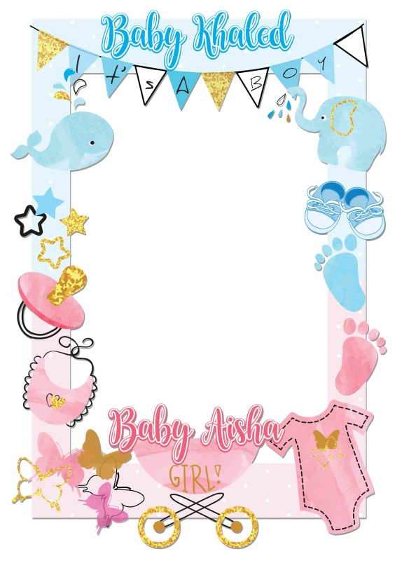 Baby Shower Frame Boy : shower, frame, Shower, Frame, X-Large, Party
