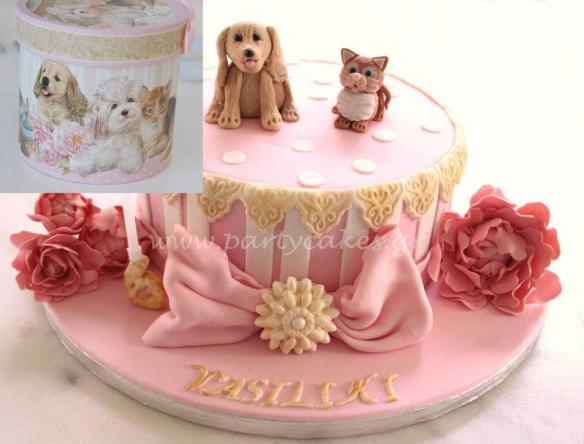 vintage peony cake lace dog cat πεωνια