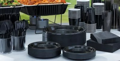 Black Tableware  Black Party Supplies  Party City