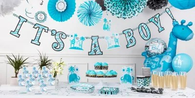 Blue Safari Baby Shower Party Supplies