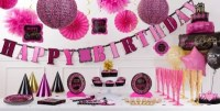 Fabulous Birthday Party Supplies - Pink & Black Damask ...