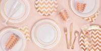 White Rose Gold Premium Tableware - Rose Gold Trim Premium ...