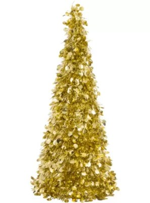 3D Gold Tinsel Christmas Tree 18in  Party City