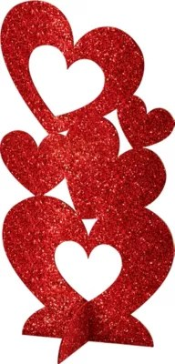 3D Glitter Heart Centerpiece 5 78 In X 11 12in Party City