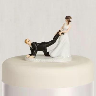 Leg Puller Bride Amp Groom Wedding Cake Topper 4in Party City