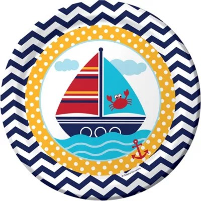 Ahoy Nautical Lunch Plates 8ct  Party City