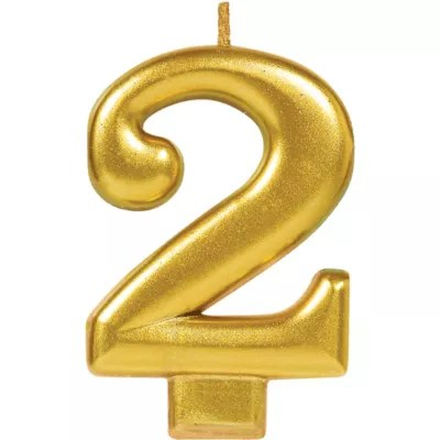 Gold Number 2 Birthday Candle 2 1 4in X 3 1 4in Party City