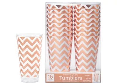 Rose Gold Chevron Premium Plastic Cups 16ct Party City