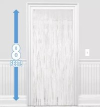 White Fringe Doorway Curtain 3ft x 8ft - Party City