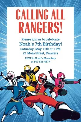 Custom Power Rangers Ninja Steel Invitations Party City