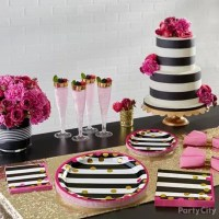 Pink Black and Gold Table Setting Idea - Party City