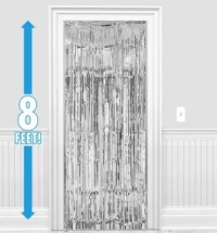 Silver Fringe Doorway Curtain 3ft x 8ft