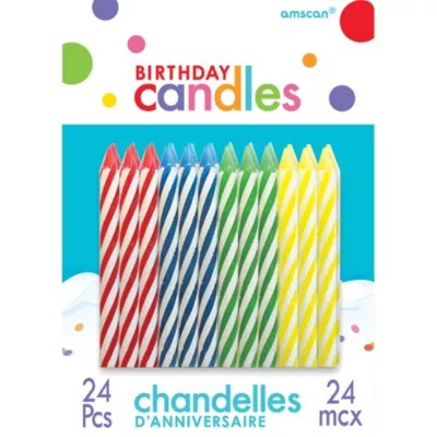 Multicolor Spiral Birthday Candles 24ct Party City