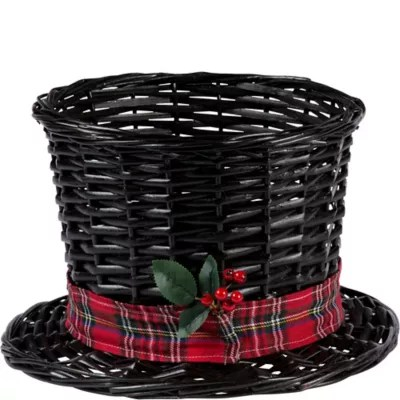 Large Snowman Hat Basket 13in x 8in  Party City