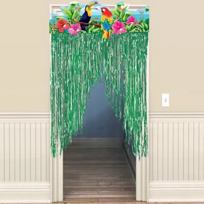 Tropical Birds Fringe Doorway Curtain 3ft x 4 1/2ft