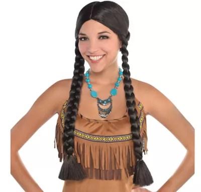 native american black braids wig