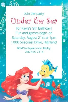 custom ariel invitation