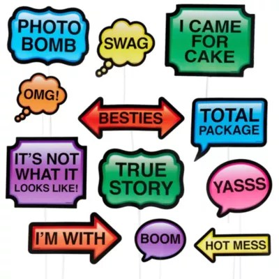 Trendy Phrases Photo Booth Props 13ct Party City