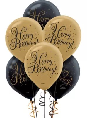 Black Amp Gold Birthday Balloons 15ct Party City