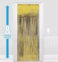 Gold Fringe Doorway Curtain 3ft x 8ft - Party City