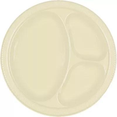 Vanilla Plastic Divided Dinner Plates 20ct