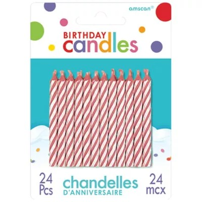 Pink Candy Stripe Birthday Candles 24ct Party City