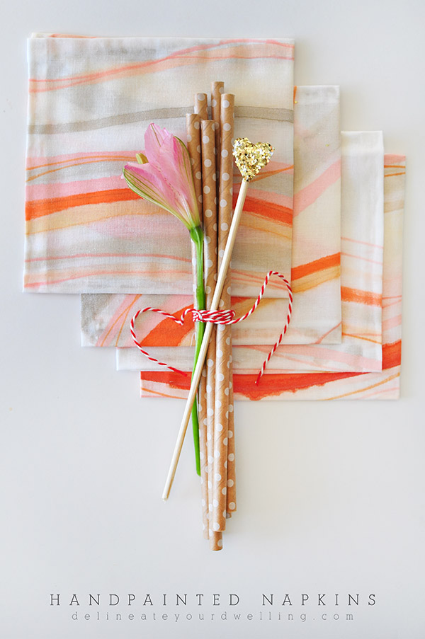 DIY Hand painted Party Napkins