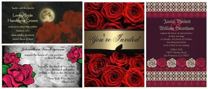 Red Roses Gothic Wedding Invitations Partyinvitecards