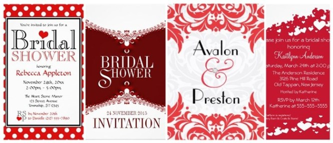Red And White Bridal Shower Invitations Partyinvitecards