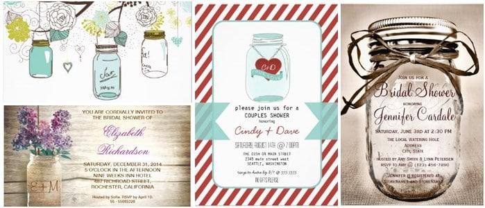 Lace And Mason Jars Lights Rustic Bridal Shower Invitations