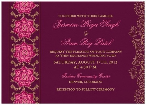 Formal Indian Anglo Wedding Invitation With Ganesh Traditional Red Blue Pattern