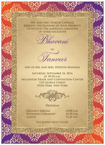 Wedding Invitation Orange Purple Gold Damask Faux