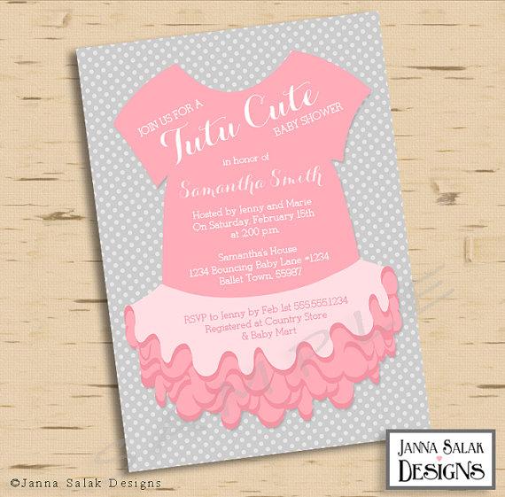 tutu cute baby shower invitation pink