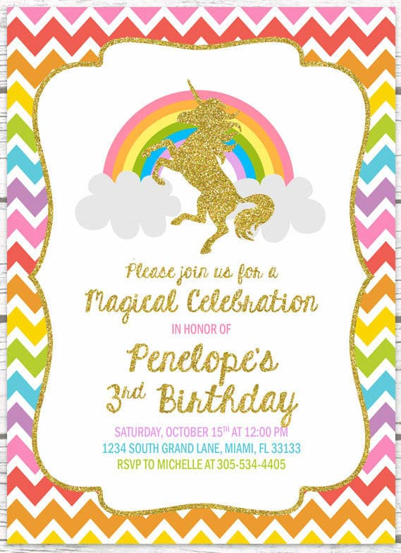unicorn party invitation ideas