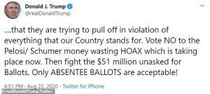 Postal Funding Package, trump tweet