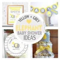 15 Amazing Yellow and Grey Elephant Chevron Baby Shower ...